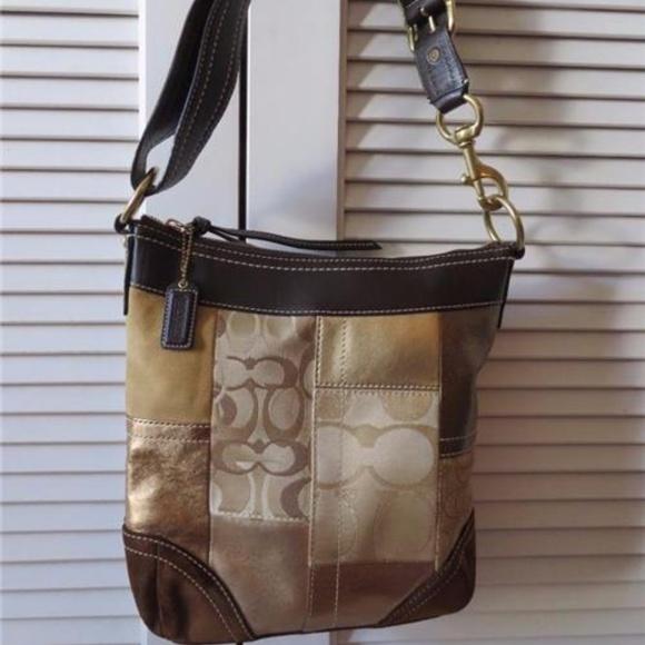 COACH Handbags - COACH PATCHWORK BROWN,TAN SUEDE/GOLD LEATHER BAG**